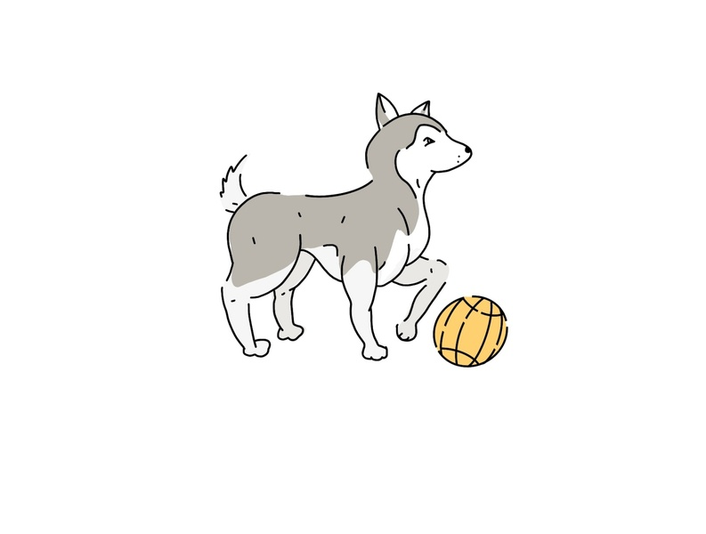 Inktober 2019 - Day 6 - Husky lineart husky minimal design icon illustration vector