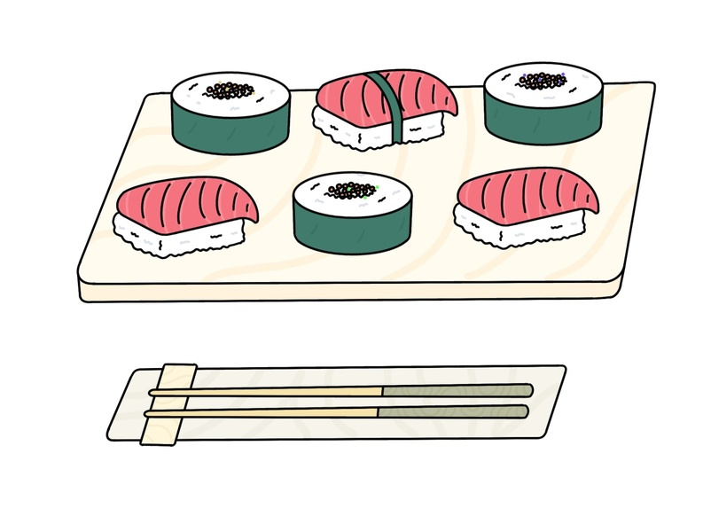 Sushi Therapy food sushi japanese lineart art flat web app minimal design icon illustration vector