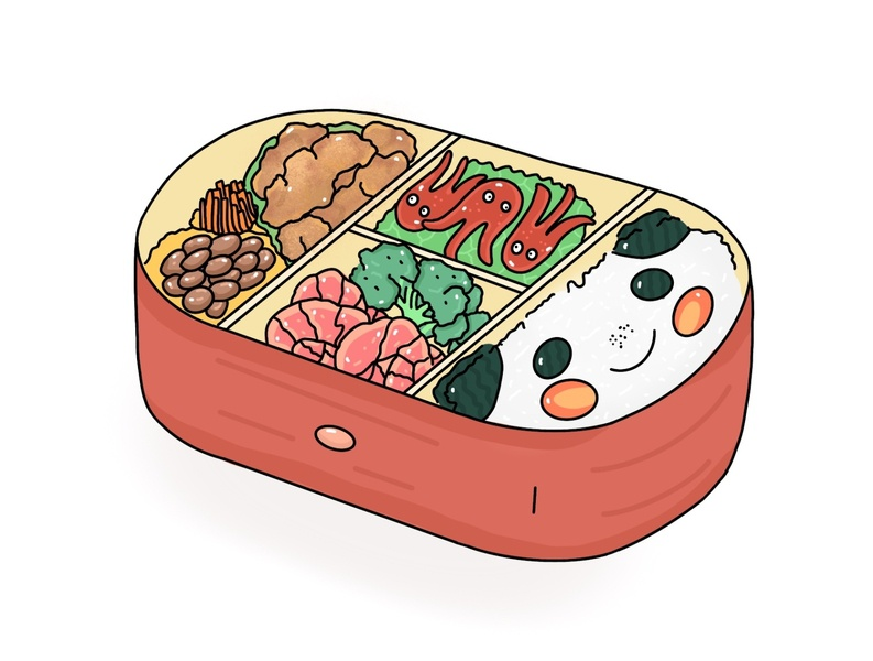 Karaage Bento bentobox art app vector design food minimal icon japanese illustration bento