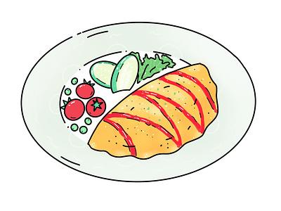 Omurice omurice japanese japan food minimal design icon illustration vector