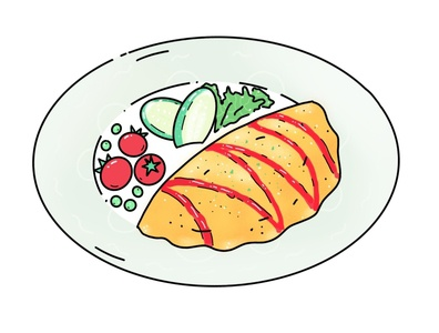 Omurice omurice japanese japan food minimal design icon illustration vector