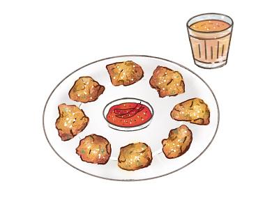 Pakoda with Tea illustration icon chiya tea pakoda food nepali food