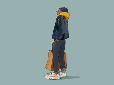 shopping streetwear character 2d characterdevelopment characterdesign cartoon illustration