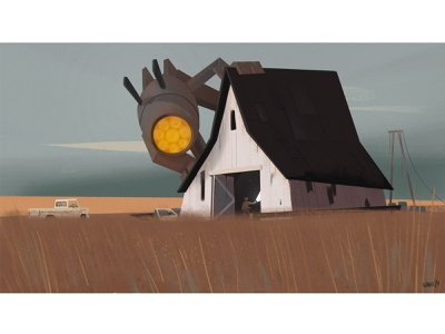 FollowTheRabbit robot visualdevelopment stylized western 2d 2d art cartoon illustration
