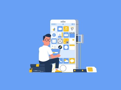 IOS Developer iphone phone characterdesign illustration vector flat corporate developer ios