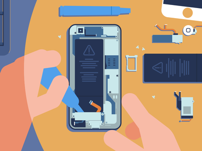Phone Repair explainer animation explainervideo explainer design flat vector illustration phone
