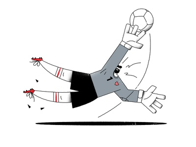 Goal sport 2d art 2d goalkeeper football soccer vector flat design character cartoon illustration