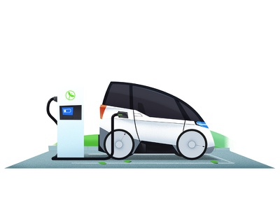 electric car charge automotive 2d electric car car flat vector illustration