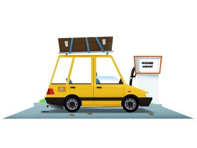 GasolineCar shuttle gasstation old car 2d art 2d automotive car flat cartoon illustration