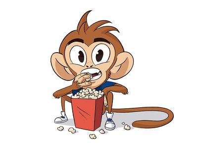 Social Ape popcorn characterdevelopment character cartoon illustration characterdesign monkey ape