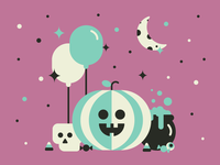 Barrel Halloween Party Illustration