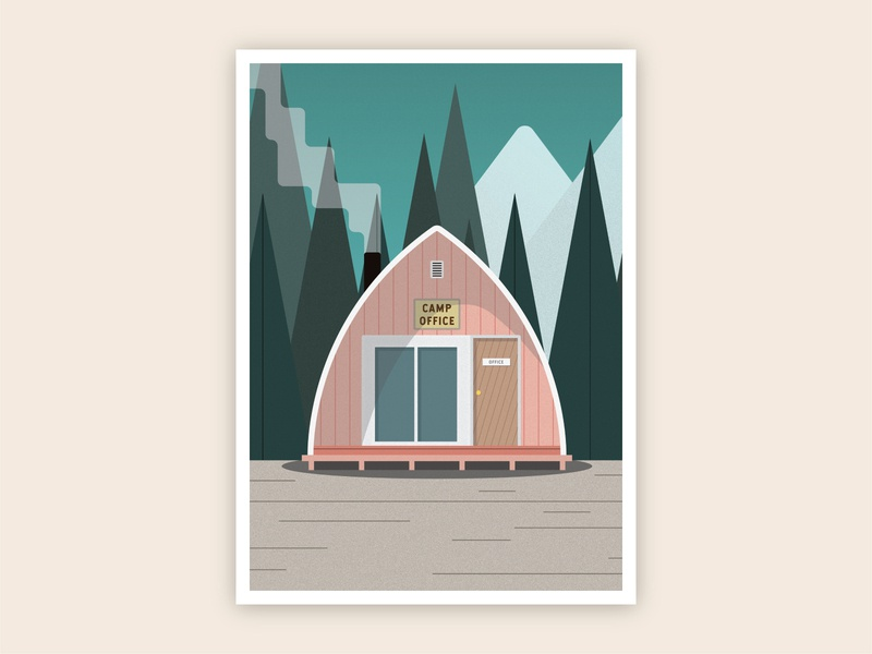 Camp Cabin Print texture vector illustrator adventure nature outdoors landscape summer camp woods print illustration cabin