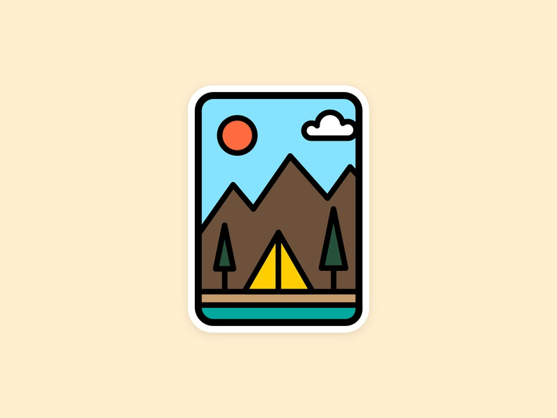 Camping Badge mountains hiking outdoors patch badge camping lake forest maine woods identity illustrator clean illustration flat vector design minimal