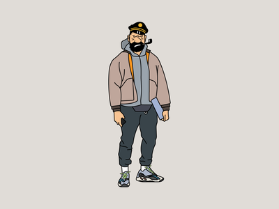 Yeezy x Tintin hand drawn captain haddock kanye west adidas streetstyle yeezy tintin illustrator clean illustration design