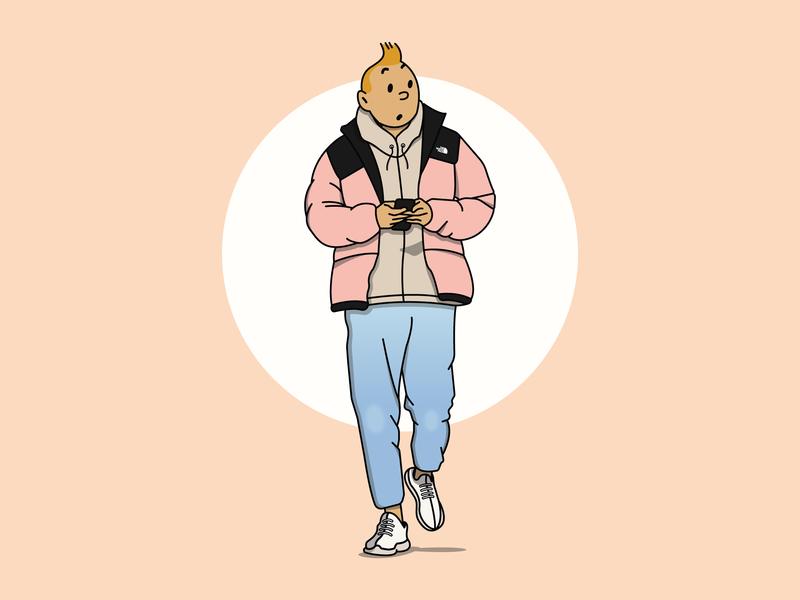 Street Style Tintin adidas boost yeezy the north face fashion herge streetstyle streetwear hypebeast tintin hand drawn clean illustration design