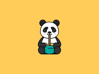 Daily Logo Challenge - 3 food ramen noodles bear animal dailylogochallenge dailylogo minimal illustrator logo clean flat vector illustration panda bear panda