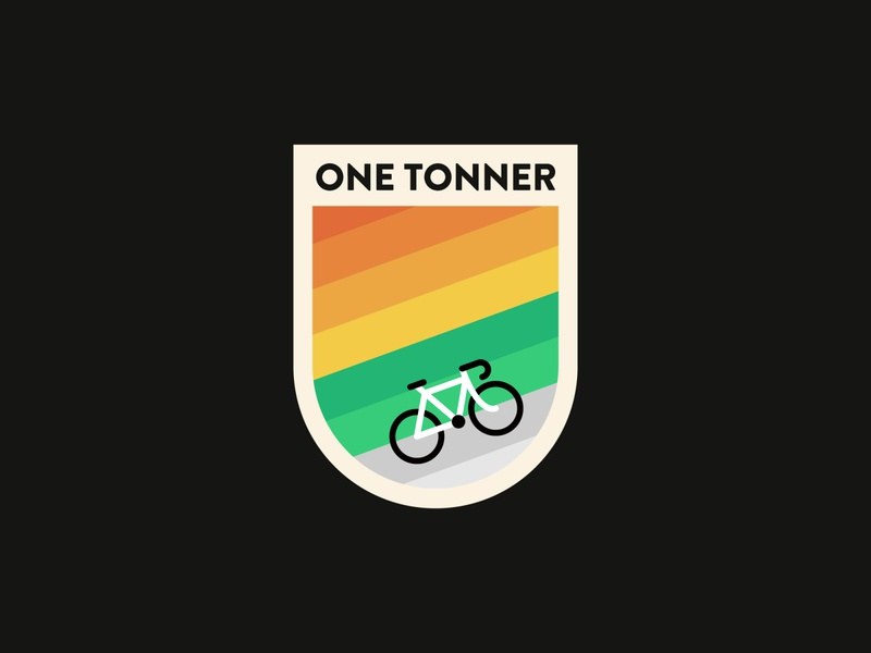 One Tonner Cycle Tour Badge badge logo outdoors race patch badge cycling identity branding illustrator logo clean flat vector illustration design minimal