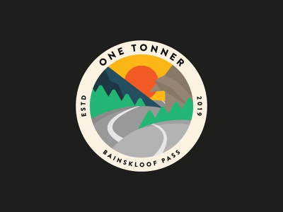 One Tonner Cycle Tour adobe illustrator clean flat vector illustration design minimal patch logo badge bicycle shop outdoor adventure sports bicycle cycling