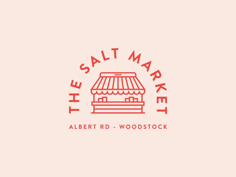 The Salt Market Logo food store shop icon brand identity branding illustrator clean flat vector design minimal market illustration patch badge logo