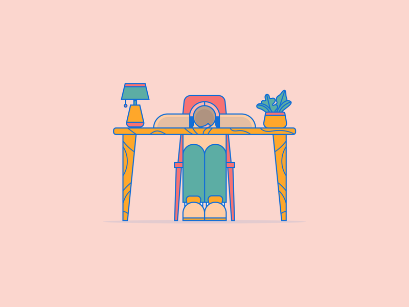 Out of Ideas minimal tired sleeping plants desk character design character clean flat vector illustration