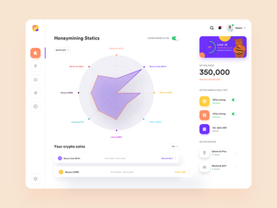 Cryptocurrency  Mining Dashboard Concept. orizon honeyminer bitcoin statistics 2020 trend ux website business data cryptocurrency web app concept dashboard ui dashboard