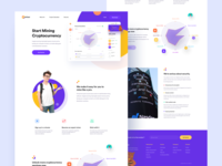 HoneyMiner Landing page 2019 crypto wallet crypto exchange website design user experience userinterface ux website business illustration landing page concept ui