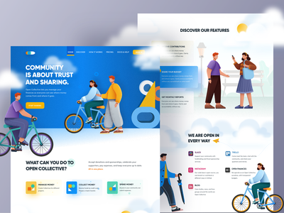 Fund Collect & Manage Landing page ux ui ux design ui design typography icon vector app mobile app design illustration application website design web design colorful isketch website fundraising funding landing page