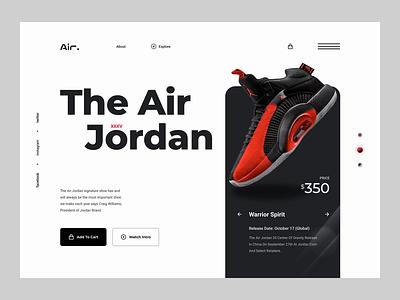 Jordan Brand Footwear Header Concept 2021 design product design logo webdesign illustration business user interface design landing page design website design header design animation
