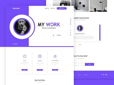 Personal Portfolio template ( XD Freebie ) personal cleanlio portfo modern resume simple free ui ux color web