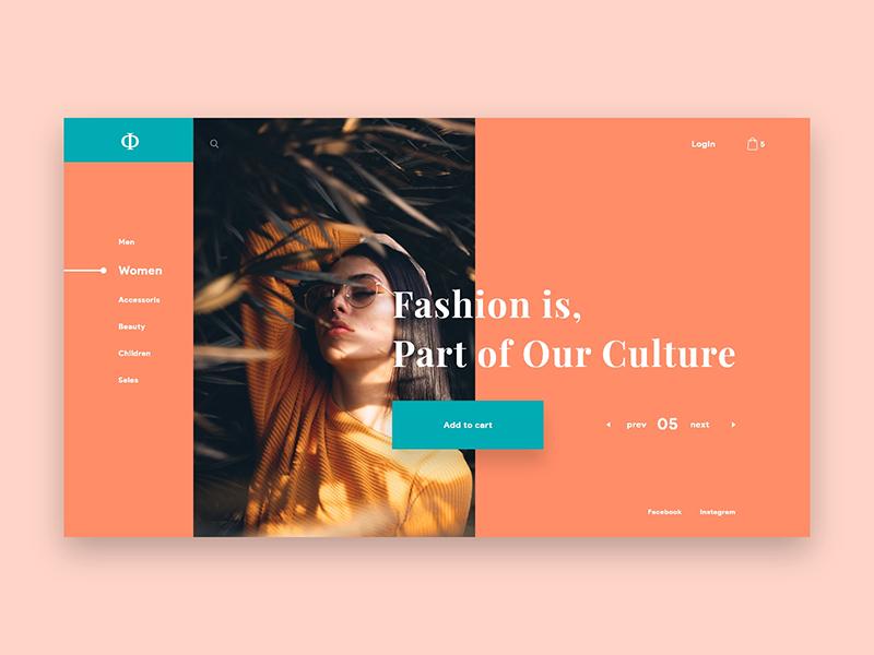 Conceptual Web UI Concept - Fashion concept website header ux web design ui minimal product grid elegant shop color