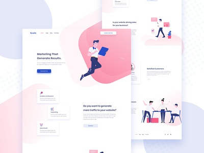 Scalo Marketing Landing page app website business landing page animation illustration user interface curve clean agency