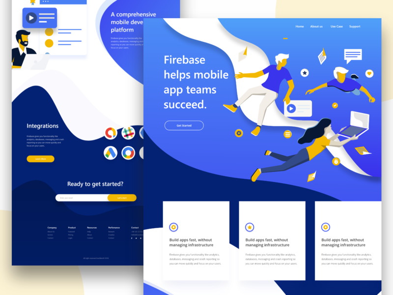 Firebase Landing Page ironsketch curve shape business header gradient concept app landing page typography illustration agency animation ui website