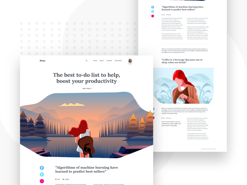 Personal Blog ironsketch article page header vector typography illustration curve ux ui website design landing page concept blog app animation