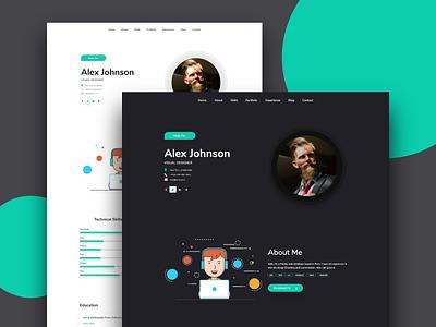 Maha CV / Resume Template trendy portfolio theme 2019 color design creative html app illustration landing page ui ux cv resume template cv website