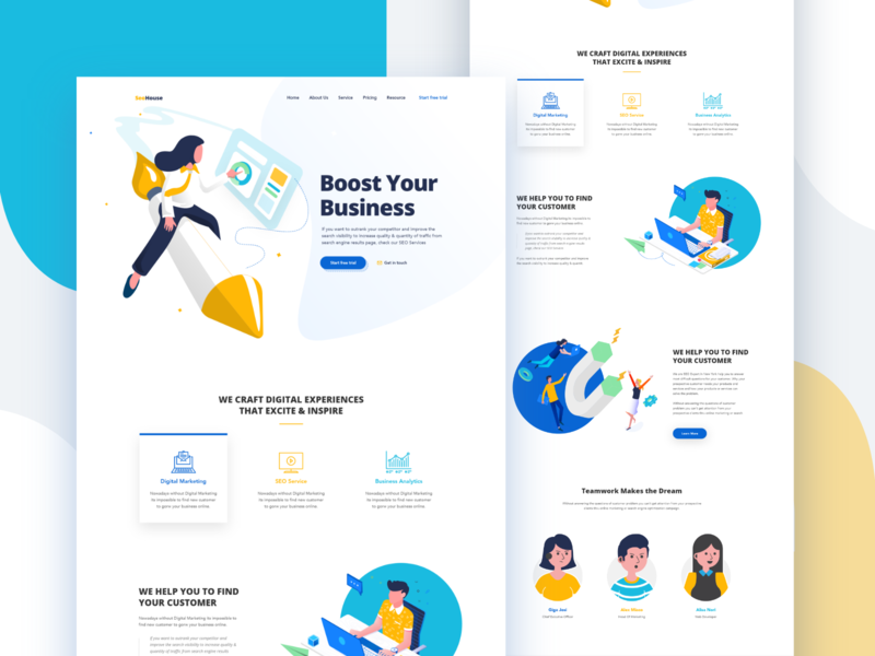 SEO Landing Page flat gradient ux design ui agency curve vector icon user interface typography illustration ironsketch concept ux business landing page app website animation