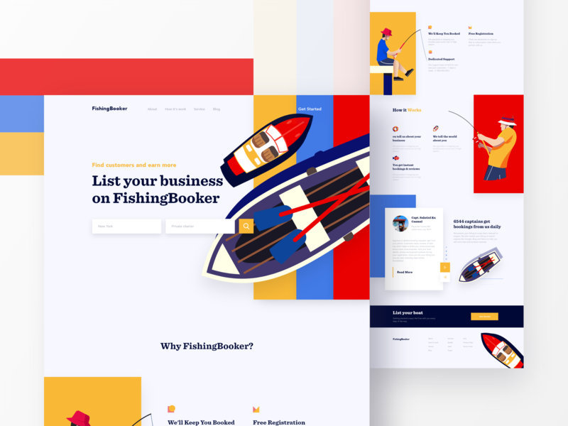 FishingBooker Landing Page user interface fishing agency business ux design theme ui ux icon vector animation typography concept ironsketch color agency landing page website illustration fishing