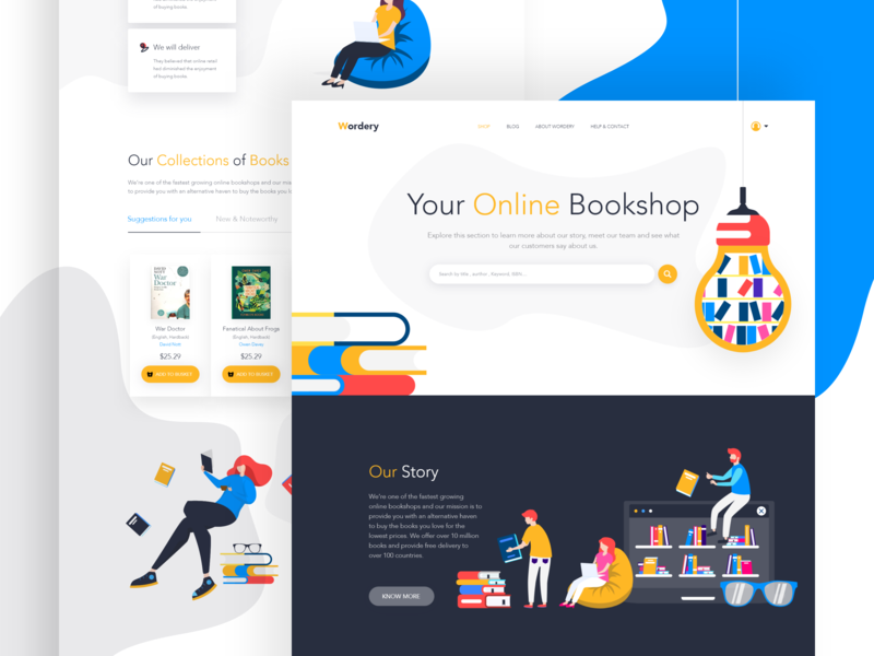 Online Book Shop - Landing Page color website vector illustration concept business ux ui animation userexperiance userinterface e-commerce shop landing page ironsketch online booking online book shop online shop