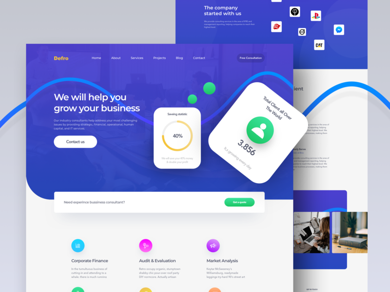 Defro - Landing page business consulting consultant 2019 ux design typography user interface agency business app landing page website concept animation ux ui