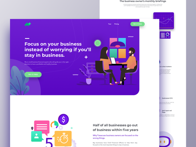 CFO - Landing page business consulting website builder dashboard app business app ironsketch 2019 business agency ux design animation concept app user interface vector illustration landing page website ux ui