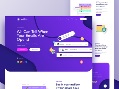 Mailtrick - Landing page email campaign mail tracker app ux design typography design color user interface illustration ironsketch landing page website concept ux ui email