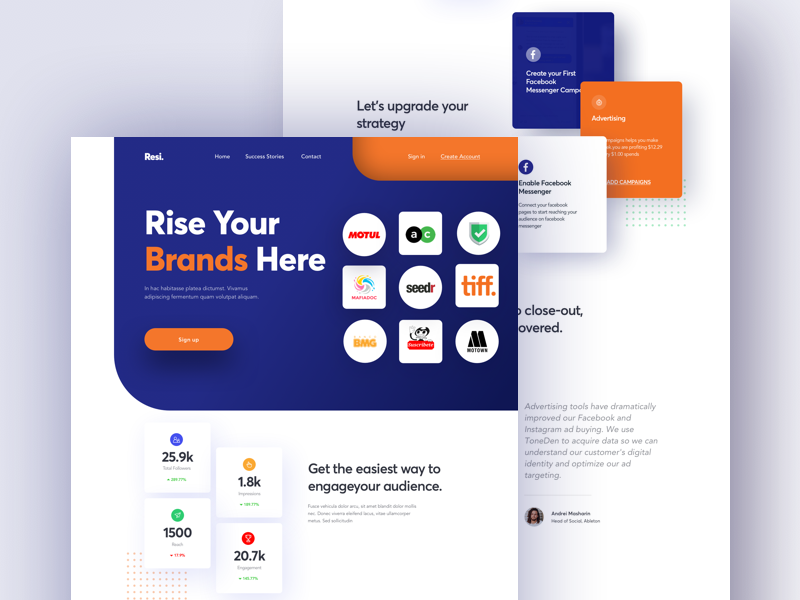 Marketing -  Landing page brand hyperlab webapp 2019 color ux design typography marketing landing page website banner user interface business landing page website concept animation ux ui