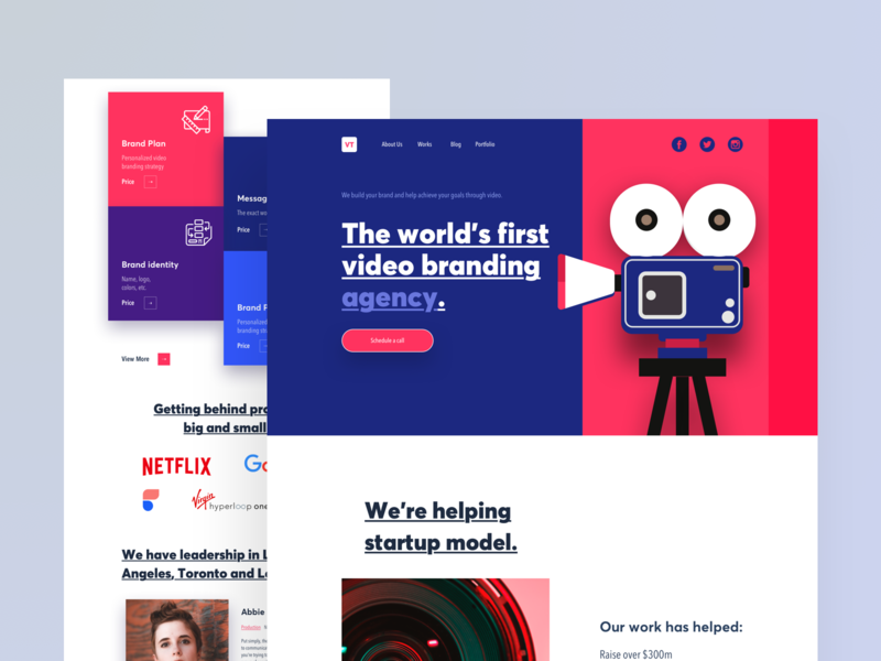 VT - Landing Page web 2019 illustration uidesign video agency branding design ux design color agency business landing page website concept ux ui user experience user interface
