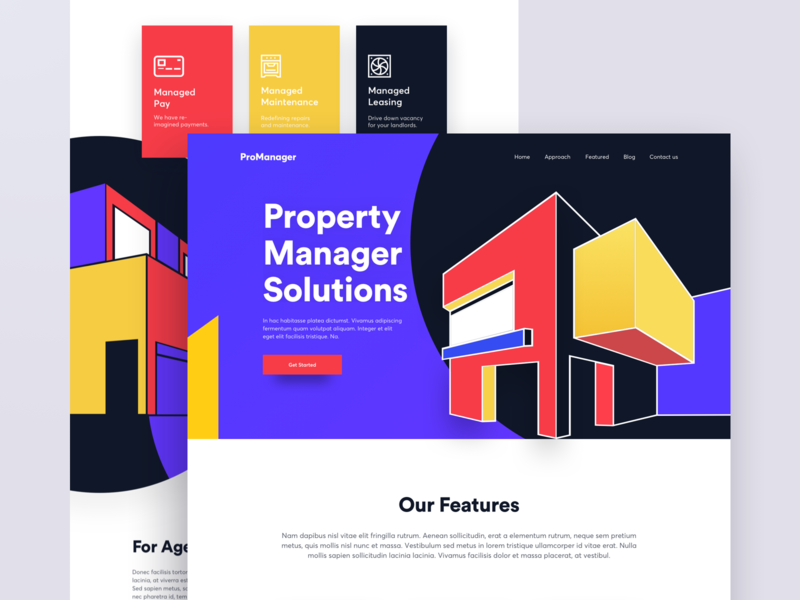 Property Manager - Landing Page uidesign real estate property management property marketing 2019 ux design user interface illustration business animation website landing page concept ux ui property manager - landing page