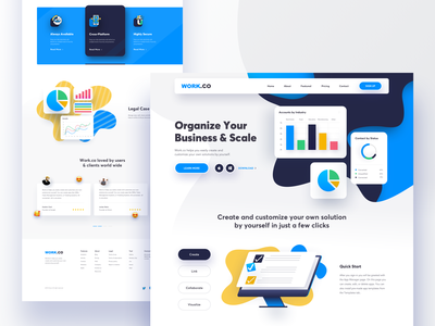 Work.co Landing page ux design user interface design tasks management systems crms 2019 app landing page landing page concept app design dashboard business website illustration ui concept landing page user interface