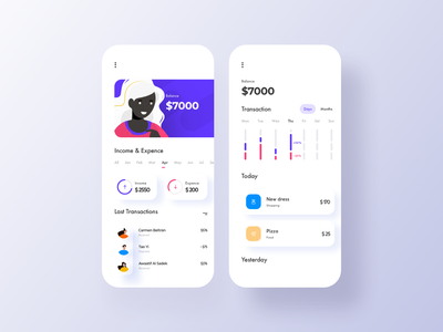 Banking App orizon business concept user experience ux ui interface illustration credit card card clean bank card bank app bank app design app