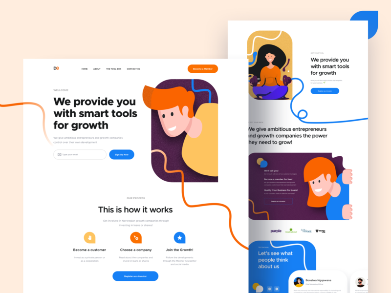 D8 Landing Page ux user interface user experience design user interface design trandy 2019 illustration ironsketch business concept landing page website design agency website landing page design