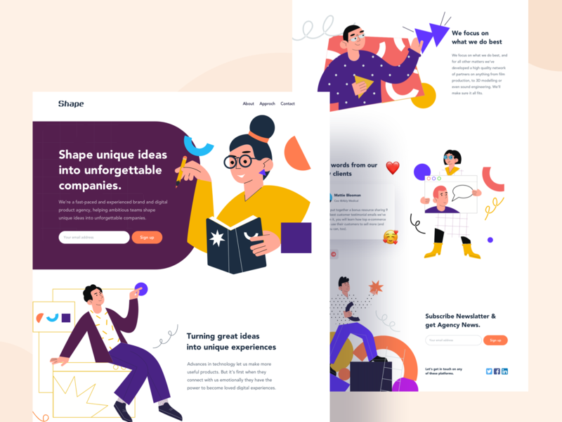 Agency Landing page Exploration ui ux trend 2020 illustration business website user experience designer user interface design orizon contact page 2020 2019 concept design frontend development agency website landing page design