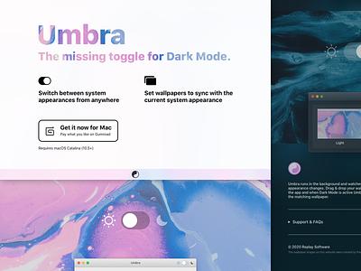 Umbra Website dark theme app marketing umbra