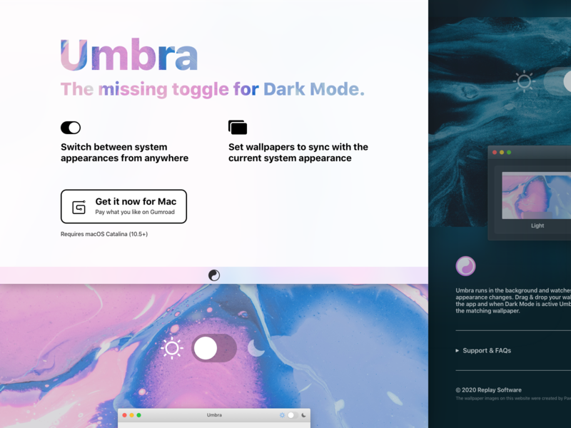 Umbra Website dark theme app marketing umbra
