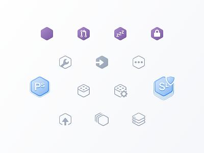 Hexicons heroku pipelines apps hexagons icons